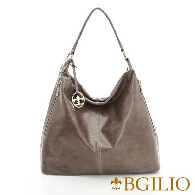 義大利BGilio - 義大利牛皮時尚造型肩背包-灰色1944.005A-19