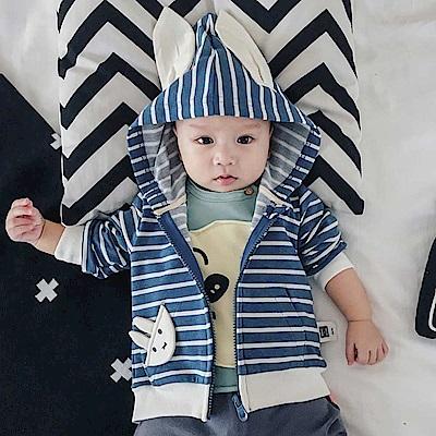 Baby unicorn 藍白條紋小兔連帽長袖外套