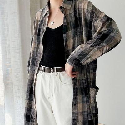 【KISSDIAMOND】復古長款棉麻格子襯衫(3色/KDC-1163)