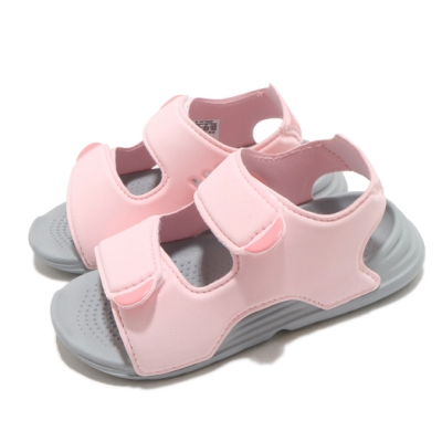 adidas 涼鞋 Swim Sandals 童鞋 愛迪達 快速乾燥  魔鬼氈 可調式 粉 灰 FY8065