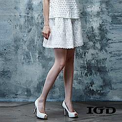 IGD英格麗 立體蕾絲面料雙層短裙
