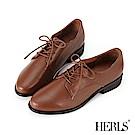 HERLS 經典再現 全真皮素面低跟牛津鞋-棕色
