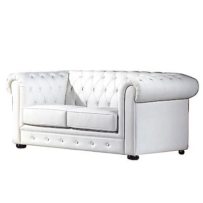 品家居 圖洛佳透氣白皮革沙發雙人座-160x88x74cm免組