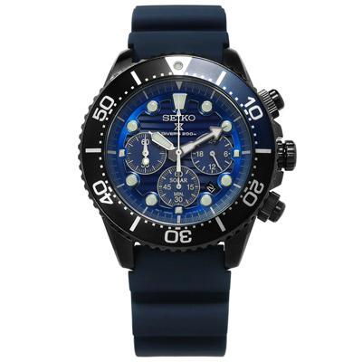 SEIKO 精工 PROSPEX 太陽能潛水錶防水200米矽膠手錶-藍x黑框/44mm