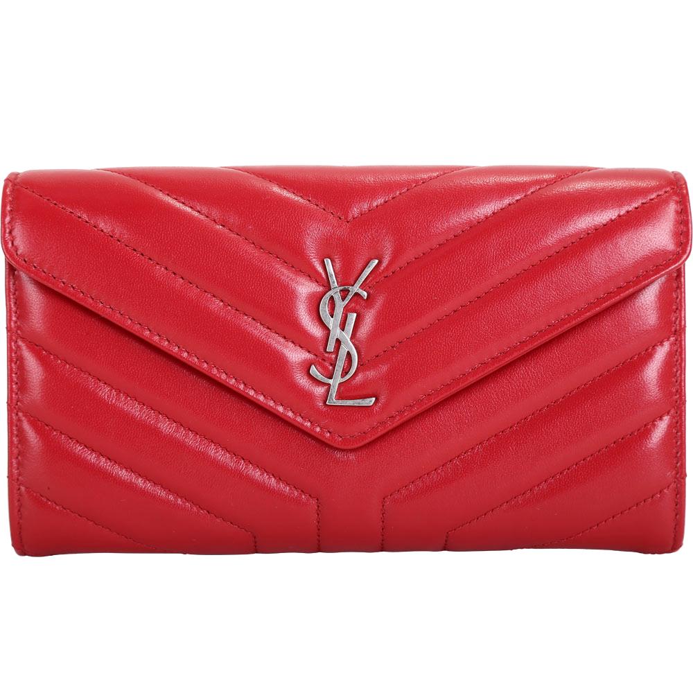 YSL Saint Laurent LOULOU Y字絎縫小羊皮信封長夾(紅色)