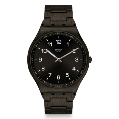 Swatch 超薄金屬手錶 SKIN SUIT BLACK -42mm