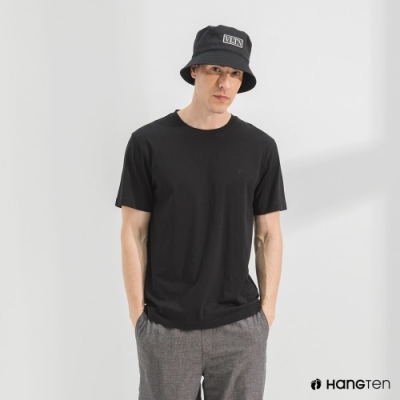 Hang Ten-男裝-有機棉圓領腳丫短袖T恤-黑色