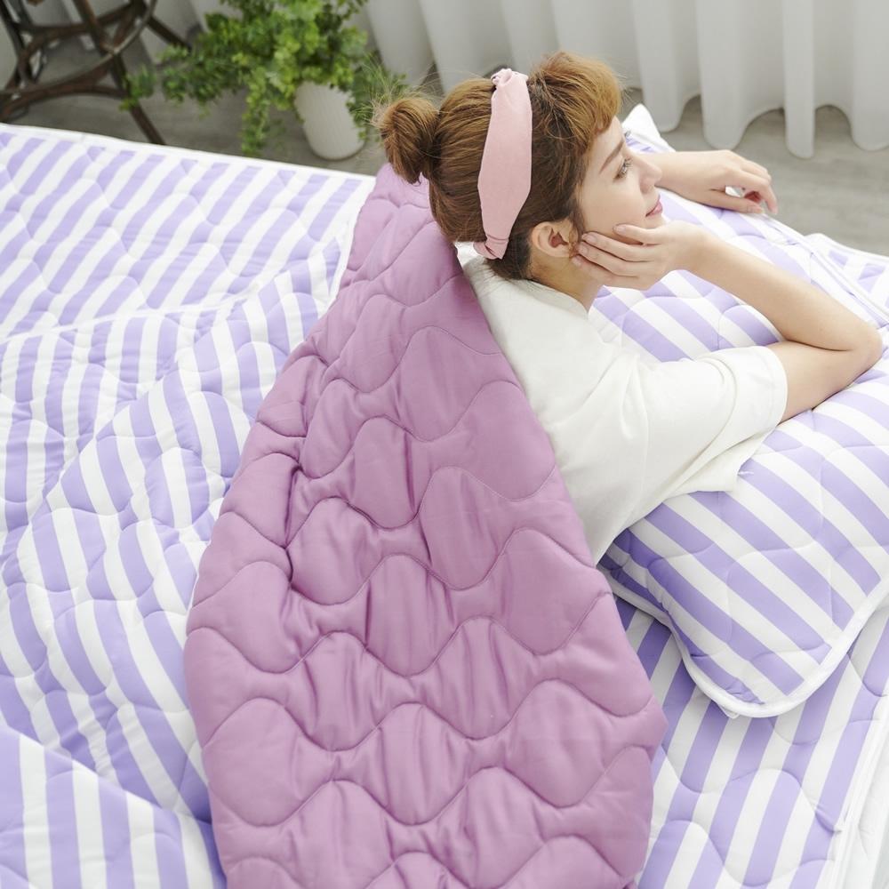 Adorar 平單式針織親水涼感墊-單人(紫)