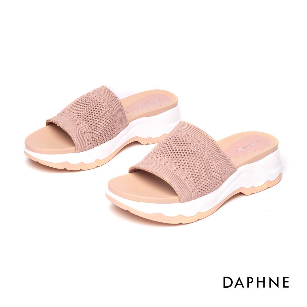 達芙妮DAPHNE 涼鞋-彈力透氣網布時尚厚底拖鞋-粉紅
