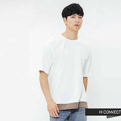 H:CONNECT 韓國品牌 男裝-立體縫線拼接上衣-白
