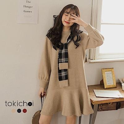 東京著衣 溫暖特調格紋披肩舒適毛料長袖洋裝-S.M(共三色)