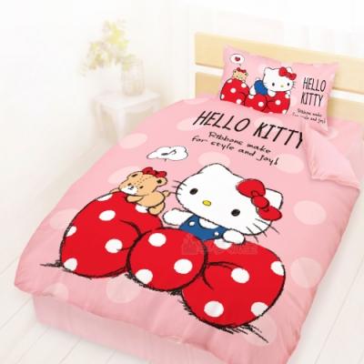 享夢城堡 精梳棉單人床包雙人涼被三件組-HELLO KITTY 點點蝴蝶結-粉