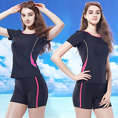有袖上衣兩件式長版短褲女泳裝(T-366粉邊)送泳帽-TiNyHouSe