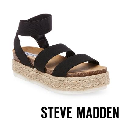 STEVE MADDEN-KIMMIE 休閒風格彈性交叉束帶麻編厚底涼鞋-黑色