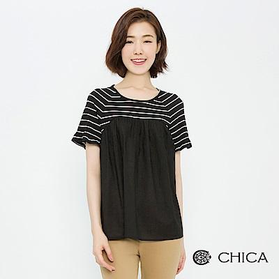 CHICA 靜謐質感抓皺異材質拼接上衣(1色)