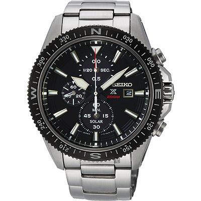 SEIKO精工 PROSPEX 太陽能計時手錶(SSC705P1)-黑x銀/44mm