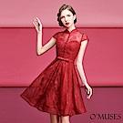 蕾絲旗袍式短禮服-OMUSES