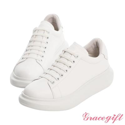Grace gift-美少女戰士變身器全真皮厚底小白鞋 白
