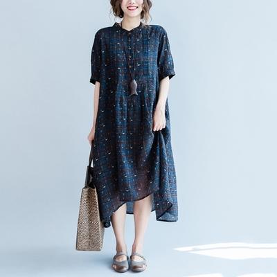 米蘭精品 連身裙短袖洋裝-藍底小格子飄逸裙擺女裙子73xz27