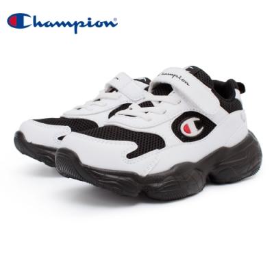 【Champion】VELCRO 運動童鞋 透氣網布 大童鞋-白/黑(KSUS-0363-01)