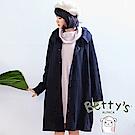 betty's貝蒂思 復古翻領大鈕扣寬鬆長版大衣(黑色)
