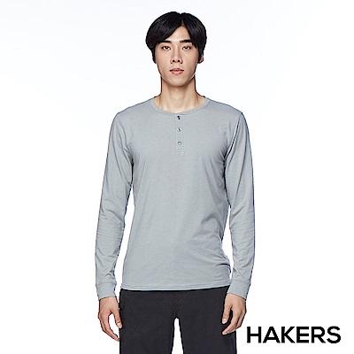 【HAKERS】男款 圓領開襟休閒衫(灰色)