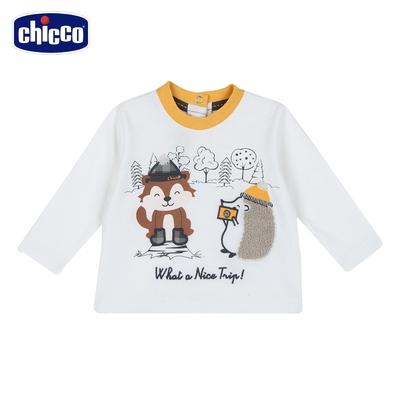 chicco-浣熊朋友-領口配色長袖上衣