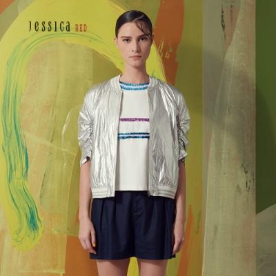 JESSICA RED - 銀色金屬質感休閒運動棒球衫外套