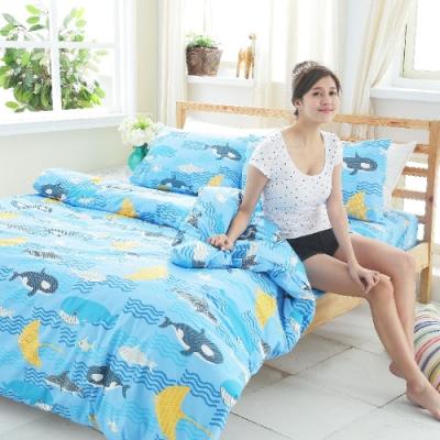 BUHO 雙人三件式100%純棉床包組(藍色夢游)