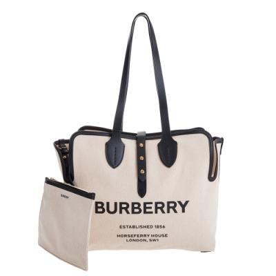 BURBERRY 新款The Belt 牛皮背帶搭柔軟棉質帆布中型肩背包