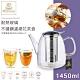 英國WILMAX  耐熱玻璃不鏽鋼濾網花茶壺1450ML附雙層耐熱杯250ML2入/組 product thumbnail 1