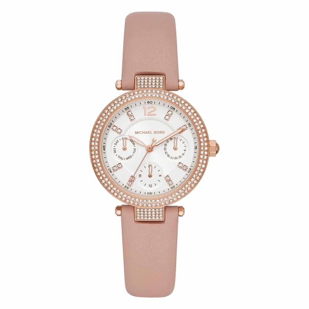 Michael Kors 華麗晶鑽三眼腕錶-粉藕色-MK2914-33mm