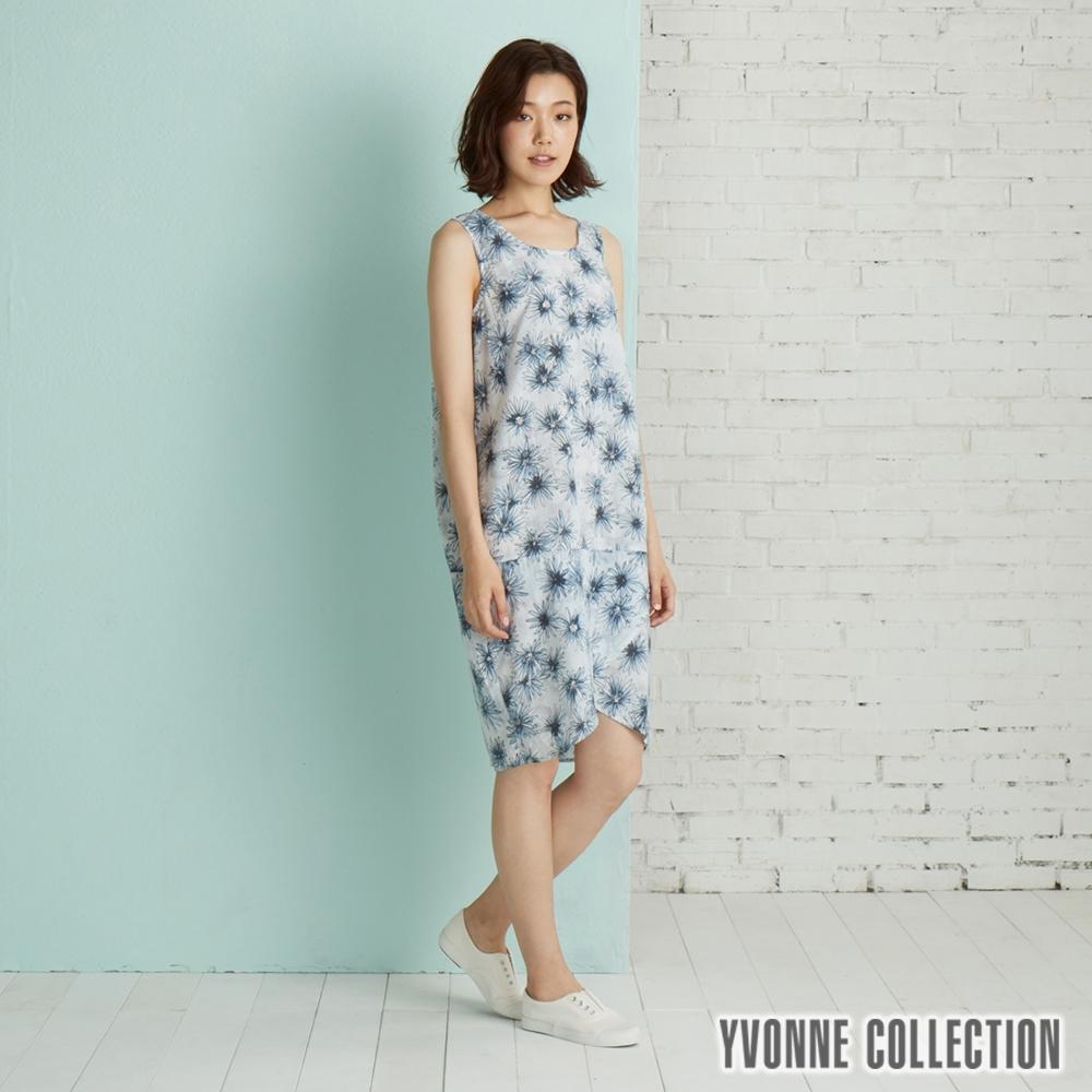 YVONNE 泡泡布雛菊印花無袖洋裝