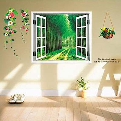 半島良品 DIY無痕壁貼-假窗林蔭小道 AY914 60x90cm