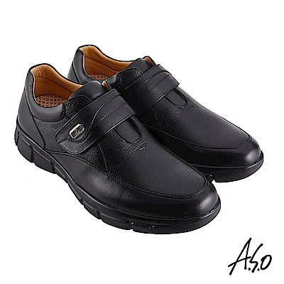 A.S.O機能休閒 3D超動能魔鬼氈商務休閒鞋-黑