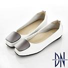 DN 知性素雅 金屬方釦拼接真皮低跟平底鞋-白