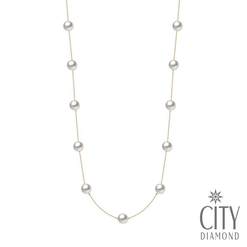 City Diamond引雅【東京Yuki系列】18K AKOYA珍珠6.5mm長版項鍊