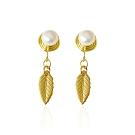 ides愛蒂思 時尚輕珠寶天然淡水珍珠香盤型夾式耳環/一葉思念(無耳洞夾式)7-8mm