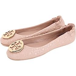 TORY BURCH Minnie Travel 金盾牌絎縫菱格折疊鞋(粉餅色)
