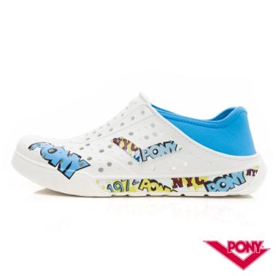 【PONY】ENJOY懶人後跟輕量透氣兩用洞洞鞋 拖鞋 雨鞋 男女 塗鴉白