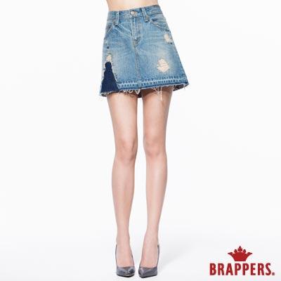 BRAPPERS 女款 Boy Friend 系列-女用中低腰膝上短裙-淺藍
