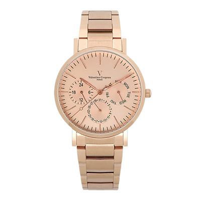 Valentino Coupeau 范倫鐵諾 古柏 時尚三眼腕錶 (玫殻/鋼帶/玫面)