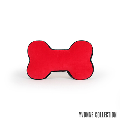 Yvonne Collection 雙色拼接中骨頭抱枕-紅/黑