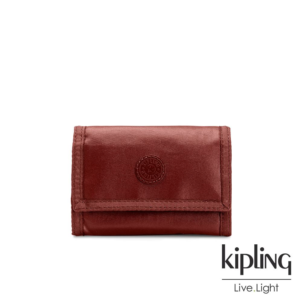 Kipling 雅緻紅褐素面多夾層短夾-MICKYLINA