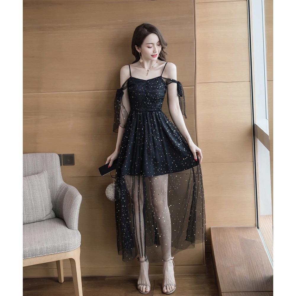 IMStyle 無袖網紗洋裝連身裙(黑色)