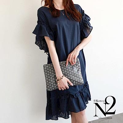 洋裝 甜美荷葉袖寬鬆綁帶前短後長連身洋裝 N2