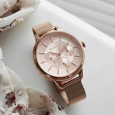 RELAX TIME 經典三眼米蘭帶手錶-玫瑰金 RT-79-2
