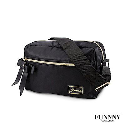 FUNNNY 日本同步輕量尼龍斜背包系列 香月 千結 黑