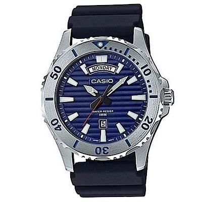 CASIO 經典再現仿黑水鬼造型設計休閒錶(MTP-1087-2A)藍面/51mm
