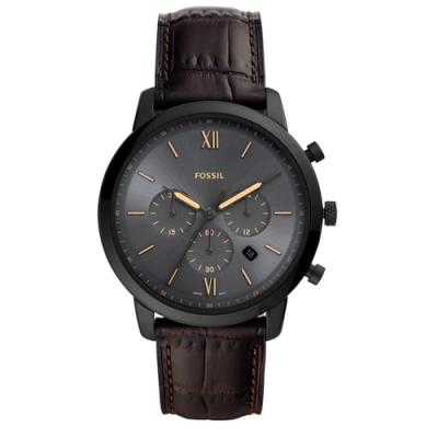 FOSSIL NEUTRA 時尚流行計時手錶(FS5579)-黑x深咖啡/44mm